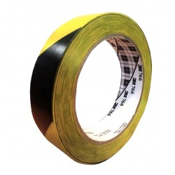 "3M Industrial - 1 in Hazard Marking Vinyl Tape 766 3M Hazard Warning Tape 766 Black/Yellow 2""X36 Yd"