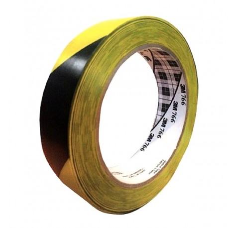 "3M Industrial - 1 in Hazard Marking Vinyl Tape 766 3M Hazard Warning Tape 766 Black/Yellow 2""X36 Yd"