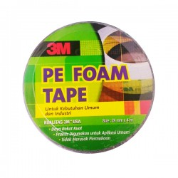 3M 1600T Double Coated PE Foam Tape (Double Tape) tebal (1.0 mm) size (24mm x 4m) - Jual Double Tape Merk 3M Paling Kuat & Murah