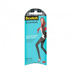 3M Scotch Essentials Adjustable Hem Tape, 24 Strips (W-106-A) - Pengubah Panjang Baju, Jeans, Celana, Gaun, Rok dll