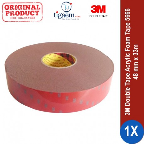 3M AFT Acrylic Foam Tape 5666, tebal: 1.1 mm, size: 48 mm x 33 m (Double Tape Mobil)