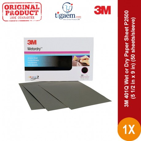 3M 401Q Wet or Dry Paper Sheet, grade: P2500, size: 5 1/2 in x 9 in, 50 sheets/sleeve