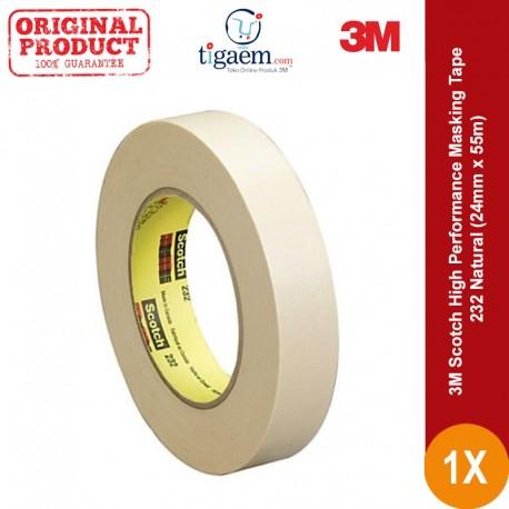 3M Scotch High Performance Masking Tape 232 Natural, 24 mm x 55 m