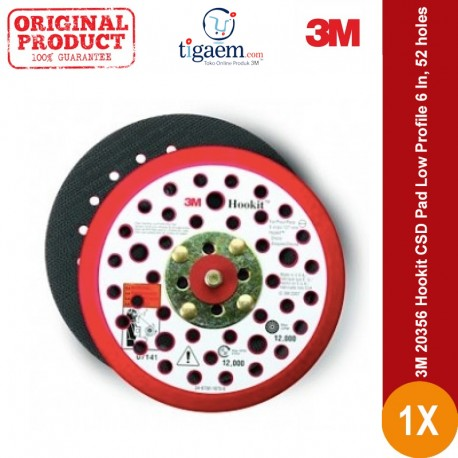 3M 20356 Hookit CSD Pad Low Profile 6 In, 52 holes