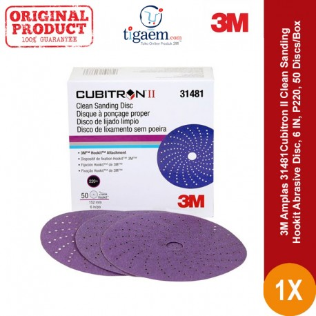 3M Amplas 31481Cubitron II Clean Sanding Hookit Abrasive Disc, 6 IN, 220+, 50 Discs/Box - Di Jual dg Harga Murah