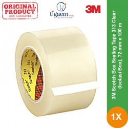 3M Scotch Box Sealing Tape 313 Clear (Isolasi Box), 72 mm x 100 m, Tebal: 0,065 mm - Lakban Bening Murah