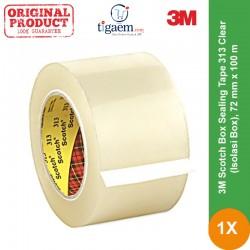 3M Scotch Box Sealing Tape 313 Clear (Isolasi Box), 72 mm x 100 m, Tebal: 0,065 mm - Lakban Bening Murah