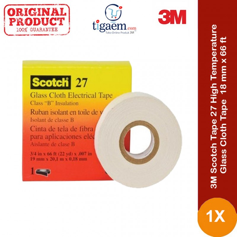 White Color Size 1//2 in X 66 ft 3M Scotch Cloth Electrical Tape Glass 27