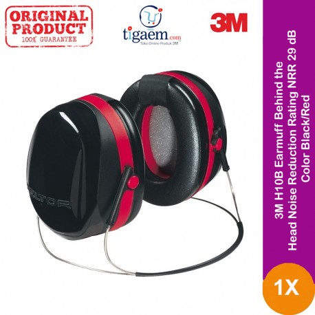 3M H10B Earmuff, Behind the Head, Noise Reduction Rating NRR 29 dB, Color Black/Red, Meets/Exceeds ANSI S3.19-1974