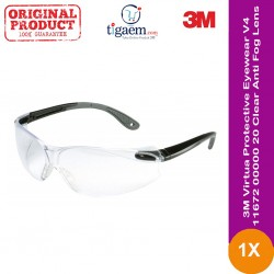 3M™ Virtua™ Protective Eyewear V4, 11672-00000-20 Clear Anti-Fog Lens, Black/Gray Temple