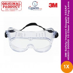 3M™ Safety Impact Goggle 332AF, 40651-00000-10 Clear Anti Fog Lens 10 ea/case (eceran)