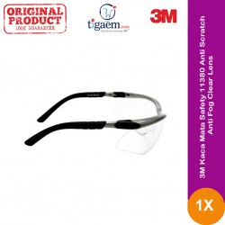 3M Kaca Mata Safety 11380 Anti-Scratch / Anti-Fog, Clear Lens, Grey Frame - 1 each