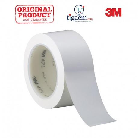 3M Vinyl Tape 471 White, 2 in x 36 yd, tebal: 0.14 mm