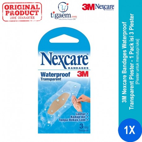 Nexcare Bandages Waterproof Transparent 24PK/BX, 6BX/CT