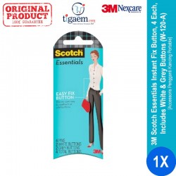 3M Scotch Essentials Instant Fix Button, 4 Each, Includes White & Grey Buttons (W-120-A) - Accessoris Pengganti Kancing Portabel