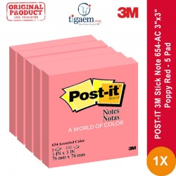 "Jual POST-IT 3M Stick Note 654-AC 3""x3"" Poppy Red - 5 Pad"