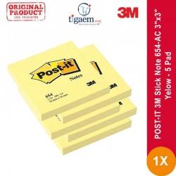 "Jual POST-IT 3M Stick Note 654-AC 3""x3"" Yellow - 5 Pad"