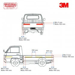 3M™ Scotchlite Sticker Reflective Pemantul Cahaya Mobil Gran Max Bak Terbuka - Diamond Grade 983 (Kuning 8, Merah 2)