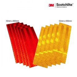 3M™ Scotchlite Sticker Reflective Pemantul Cahaya Mobil Mitsubishi Canter 6 Ban - Diamond Grade 983 (Kuning 28, Merah 10)