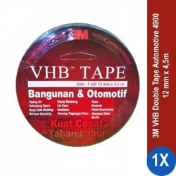 3M VHB Automotive Tape 4900, tebal: 1.1 mm, size: 12 mm x 4.5 m (Double Tape Mobil)