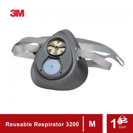 3M Reusable Half Face Mask 3200 - Masker Safety