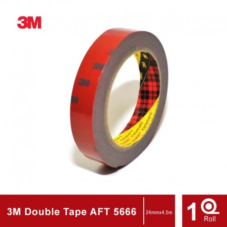 3M AFT Acrylic Foam Tape 5666, tebal: 1.1 mm, size: 24 mm x 4.5 m (Double Tape Mobil)