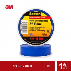 Isolasi Listrik 3M Scotch 35 Vinyl Electrical - Biru - (19mm x 20m)
