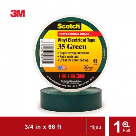 Isolasi Listrik 3M Scotch 35 Vinyl Electrical - Hijau - (19mm x 20m)