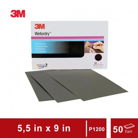 3M 401Q Wet or Dry Paper Sheet, grade: P1200, size: 5 1/2 in x 9 in, 50 sheets/sleeve (Amplas)