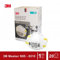 3M N95 Particulate Respirator 8210 (Masker 3M), 20 each/box, 8 boxes/case