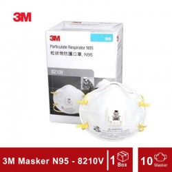 3M N95 Particulate Respirator 8210v (Masker 3M), 10 each/box, 8 boxes/case