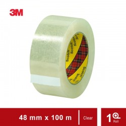 3M 313 Scotch Box Sealing Tape Clear (Isolasi Box), size: 48 mm x 100 m , tebal: 0.065 mm