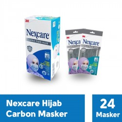 3M Masker Nexcare Carbon Hijab Headloop Mask - Masker Kerudung - 1 Box [24 Masker]