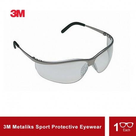 3M Metaliks Sport Protective Eyewear INDOOR/OUTDOOR Mirror Lens, Nickel Frame