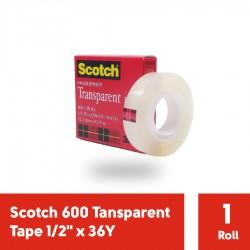 """Scotch 600 Tansparent Tape 3M Isolasi - 1/2"""" x 36Y"""