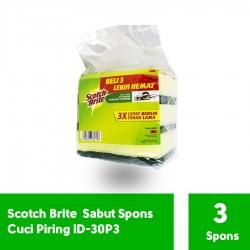 Sabut Spons Hijau 3x4 inch 3 PAD ID-30P3 (eceran) - Scotch Brite Sabut Spons u/ Cuci Piring & Alat Masak Jual dg Harga Murah