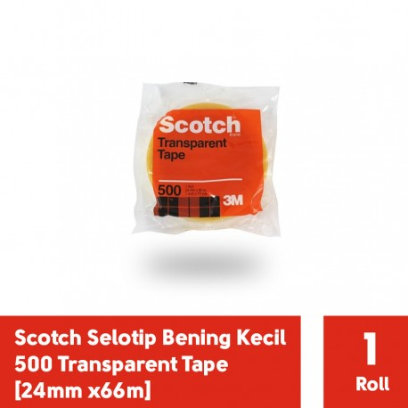 Selotip Lakban Bening Kecil Scotch 500 Transparent Tape [24mm x66m]