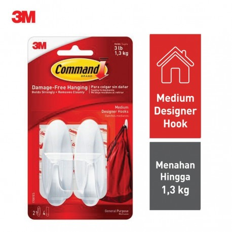 Gantungan Medium Designer Hook 3M Command 17081ES (eceran) - Jual Harga Murah Tempat Gantungan (Baju, Kunci, dll)