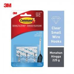 3M Command Clear Small Wire Hooks Clear 3-Hook 4 Strip 17067CLR - Gantungan Dinding Tanpa Paku u/ Pakaian dll Harga Murah