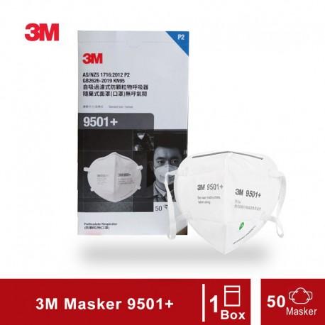 3M 9501+ Masker KN95 Particulate Respirator P95 - 1 Box (50 Masker)
