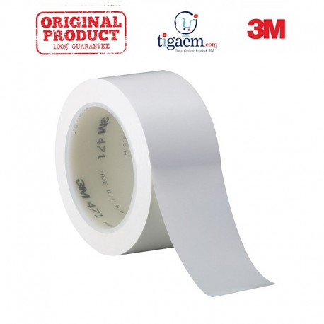 3M Vinyl Tape 471 White, 2 in x 36 yd, tebal: 0.14 mm